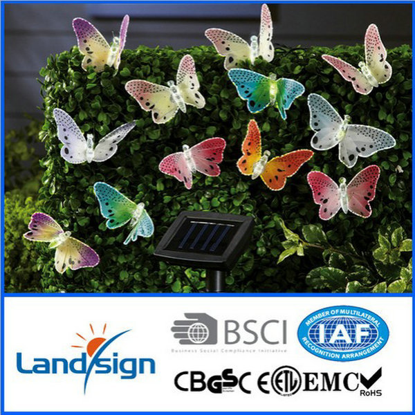 solar fiber optic butterfly string lights