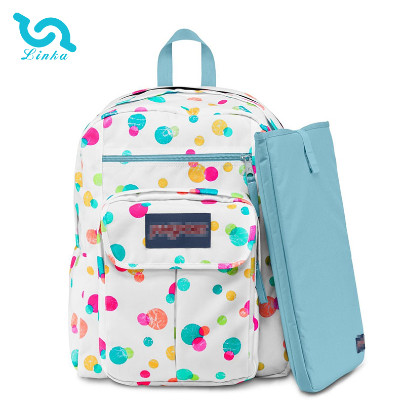 LINKA brand custom white colored dots 600d polyester backpack for school