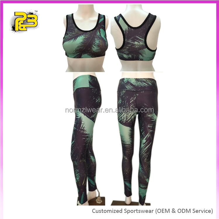 Bodybuilding lycra fabric leisure yoga sports suits full length leggings and leisure bra