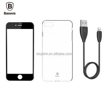 Baseus Transparent Soft TPU Case for iPhone 7 4.7 inch Back Cover + Data Cable + Soft Phone Tempered Screen Protective Film Sets