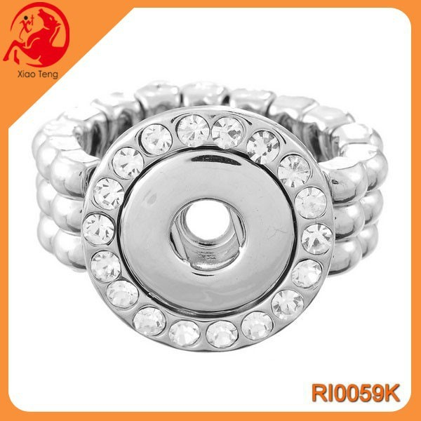 China Supplier Fashion 18mm Snap Button Adjustable Ring Zinc Alloy Couple Rings Jewelry