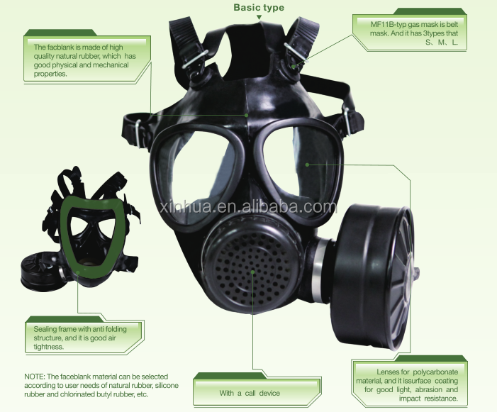 MF11B type full face natural rubber gas mask