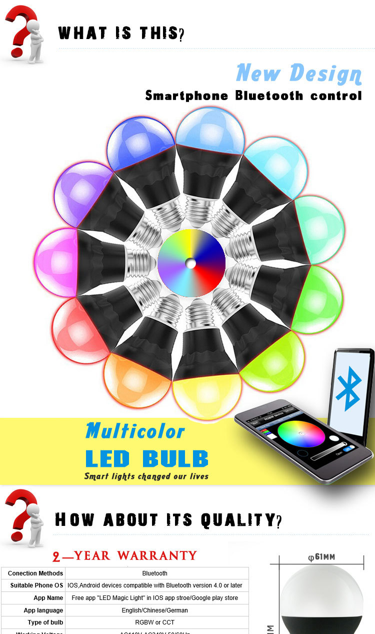 2016 new design Dimmable Multicolored Color Changing RGBW Bluetooth LED Light Bulb with Smartphone Controlled