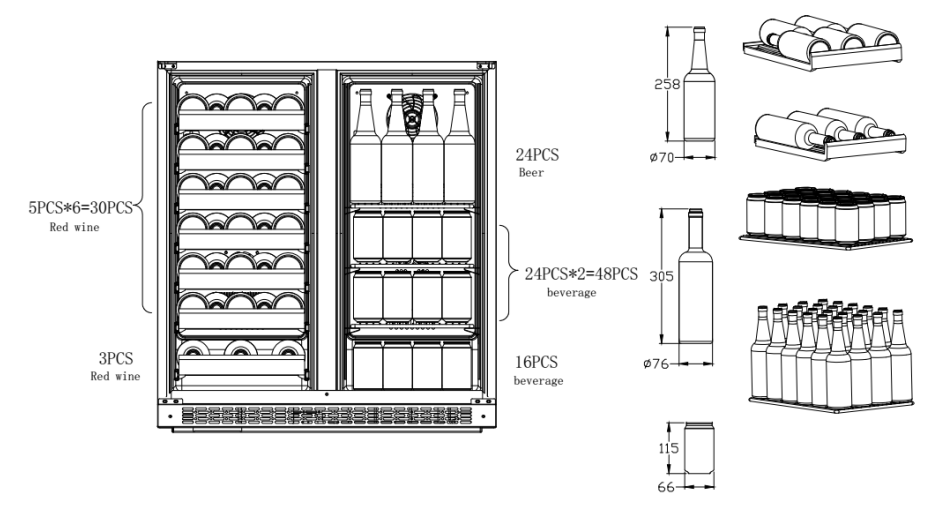 "30"" Built In Dual door wine cooler fridge"