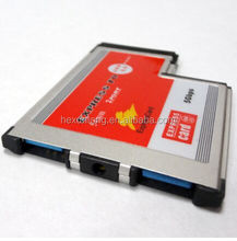ASM Chip 54 mm PCMCIA Express Card adapter 2 Port USB 3.0 to Express