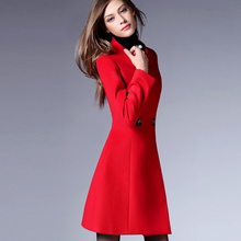 2015 new arrival slim women's winter coat red comfortable cashmere wool coat