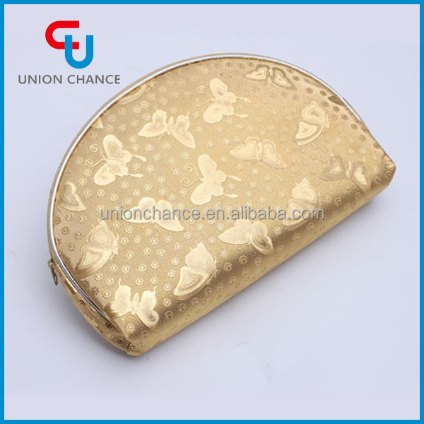 Gold Cheap Personalized Cosmetic Bags