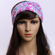 High-grade women lace print wide hair band fashion style lady headband factory direct