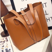 2016 Women Brown Shoulder Bag High Quality PU Leather Large Capacity Casual Handbags With Custom Logo Online Wholesale Shop