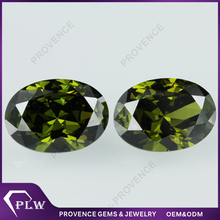 Pakistan 4*6mm Oval shape Rough Peridot CZ Jewelry stone price for decoration