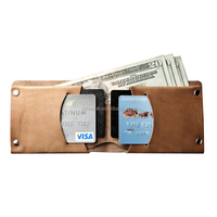 Hazel brown veg tanned leather slim minimalist wallets china leather wallet in bali market with rivets all-natured sun tanned le