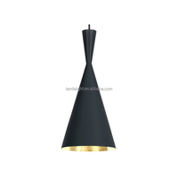 modern Tomdixon beat tall black pendant light outside black inside gold painted aluminum hanging lamp factory price