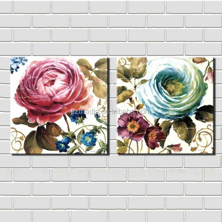 Framed Wall Art 2 Panel Fabric Painting Flower Design Home Interior Decoration Flowers Canvas Prints