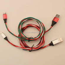 Metal head OEM Colorful Textile cloth Braided Micro USB Cable Colorful Premium Fabric Braided USB Cable