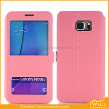 Two Window (s) Case For Samsung Note 5 , Wallet Flip Case For Samsung Note 5 Mobile phone shell