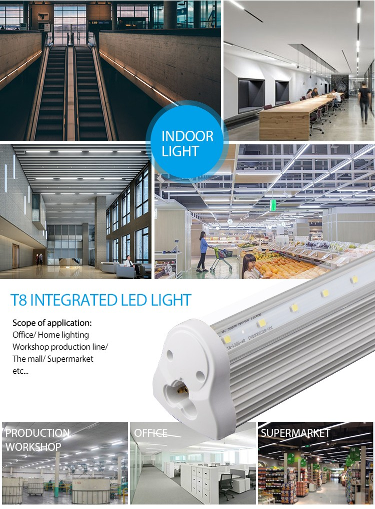 LED light manufacturers 2ft 3ft 4ft 5ft 6ft 8ft with High lumen LED Light T8 integrated led tube SAA TUV CE RoHS approval