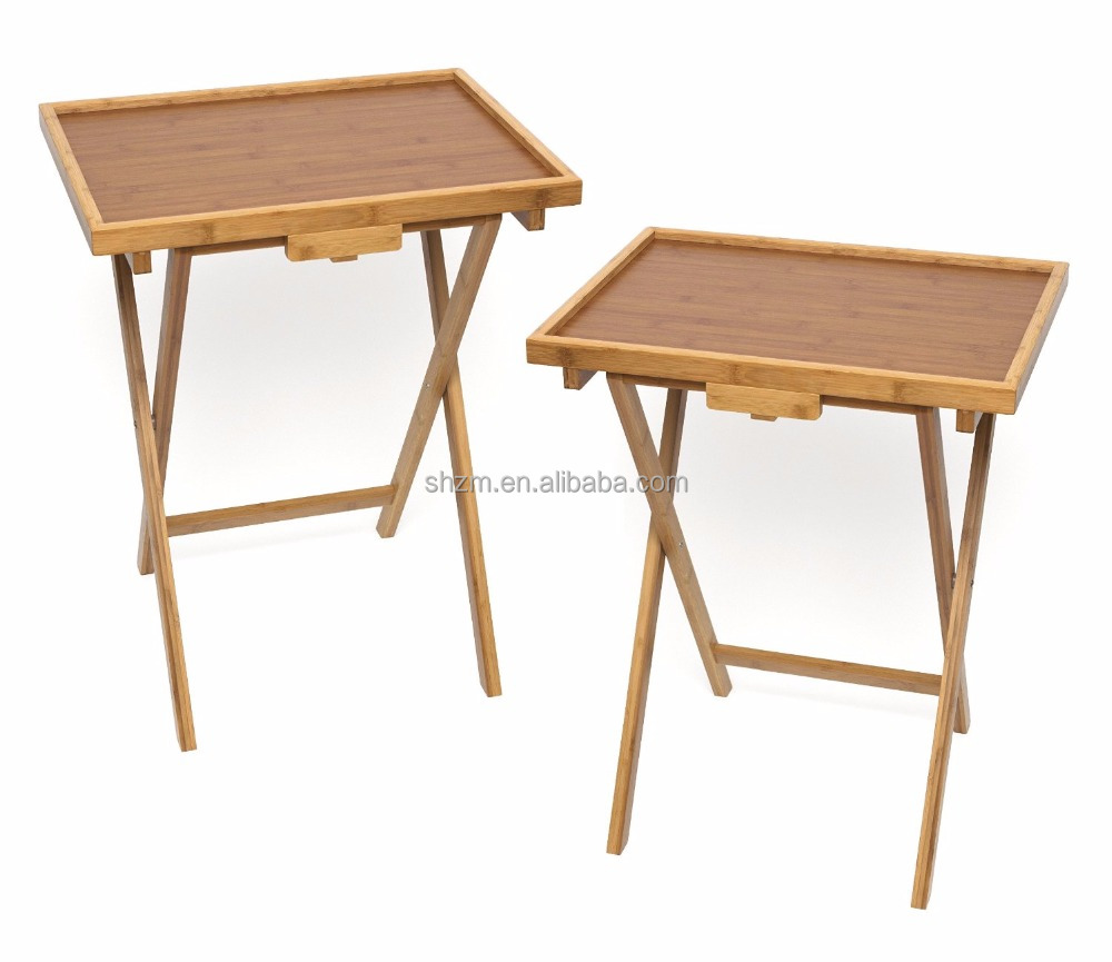 Bamboo Snack Table With Lip,Bamboo Folding Tv Tray Table / Snack Drinking  Portable Desk