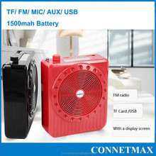 Portable MINI fm antenna amplifier micorphone voice amplifier use for public&outdoor activity with TF AUX USB LED function
