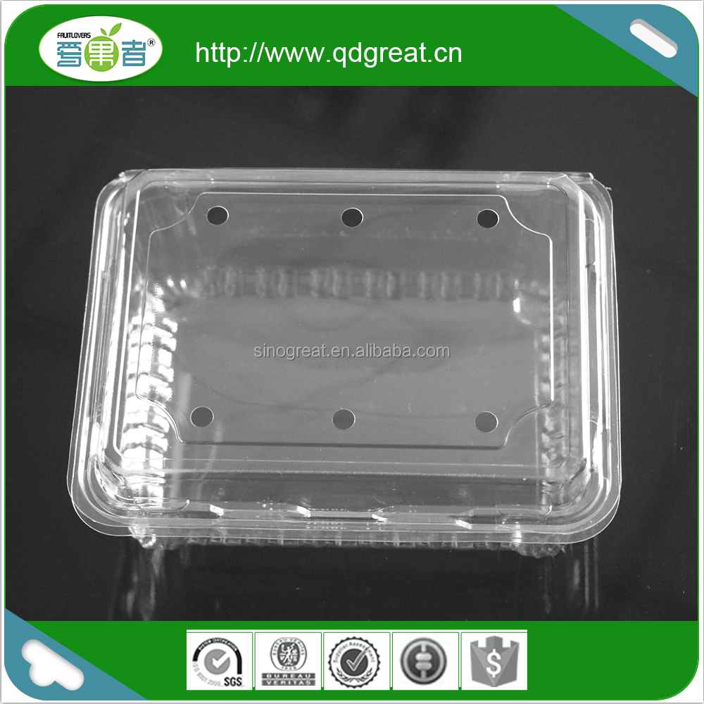 Wholesale PET plastic disposable transparent clamshell fruit vegetable packaging container