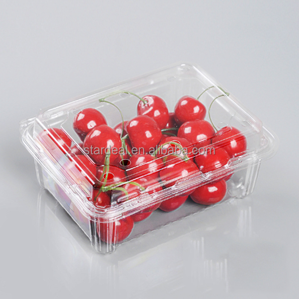 Custom Disposable Small PS PET Clear Plastic Fruit and Vegetable Packaging Cherry Packaging With printed label
