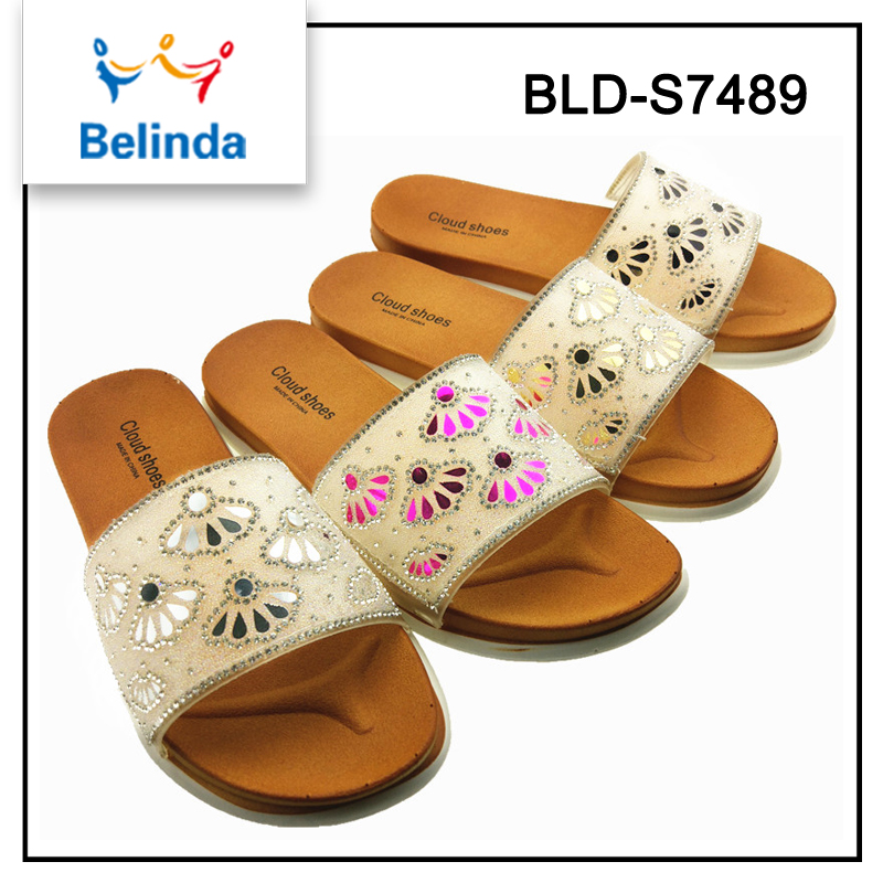 wholesale low wedge custom slides plastic sandals for women