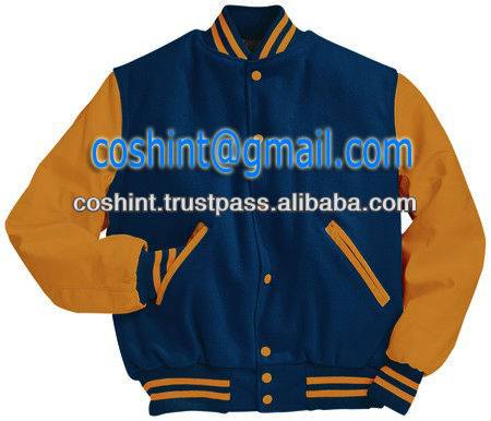 Royal blue wool body yellow leather arms Varsity jackets