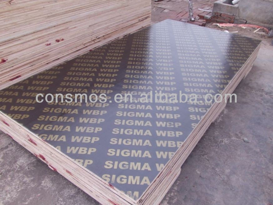 18mm WBP brown film faced shuttering plywood with logo , finger jointed core with Melamine WBP glue and one times hot pressed