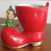 christmas boot planter,boot flower planter,ceramic boot planter