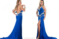 2016 Stunning Beaded Moroccan Kaftan Dress Chiffon Party Gowns Muslim Royal Blue Evening Dress CWFe2223