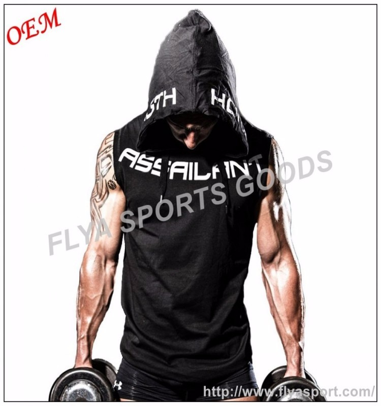 Wholesale Plus size Men's Sports Fitness Bodybuilding Tank Tops Gym Stringer Hoodie