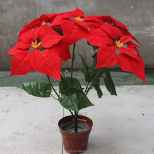 Top Quality Artificial Poinsettia With 5 Pcs Flower Heads