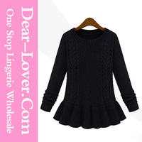 Fashion clothing Crocheted Slim O-neck sweater wholesale in turkey