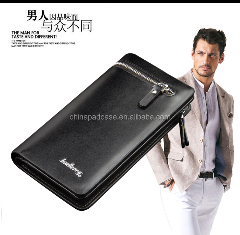Multi functional Baellerry European & American business men wallet 100% cowskin leather long hand bag zipper men wallet