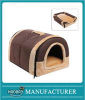 Brown Portable Soft Sided Plush Pillowed Indoor Small Dog or Cat Pet House / Bed