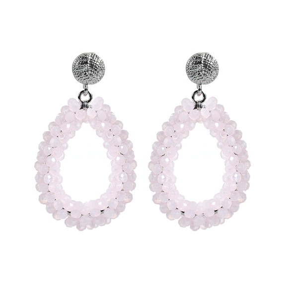 New Fashion Earings For Women 2016 Silver Tone Pink W/ Stoppers Quartz Crystal Drop Earrings Ear Studs