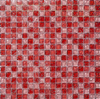 Rose red crackle crystal glass mosaic tile