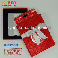 Walmart Approved Rectangle Gift Cards Packaging Paper Box with Ribbon and Hanger