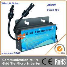 260W 22-45VDC grid tie micro inverter with communication function and waterproof IP67 for 260-300W solar panel or wind turbine
