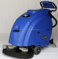 Double brushes traction floor auto wet scrubber C660 with Italy Ametek suction motor