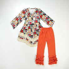 Wholesale good quality children fall clothing dress top match ruffle design leggings kid girl suit
