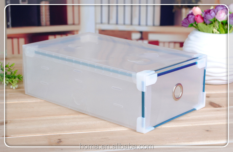 Clear Plastic Shoe Storage Box drawer with metal edge and plastic support