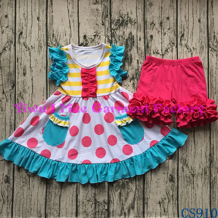 Wholesale Children's Boutique Clothing Little Girls Icing Shorts Sets Kids Summer Outfits with Ruffles CS910
