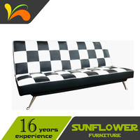 Living Room Modern White & Black PU Leather Sofa Bed