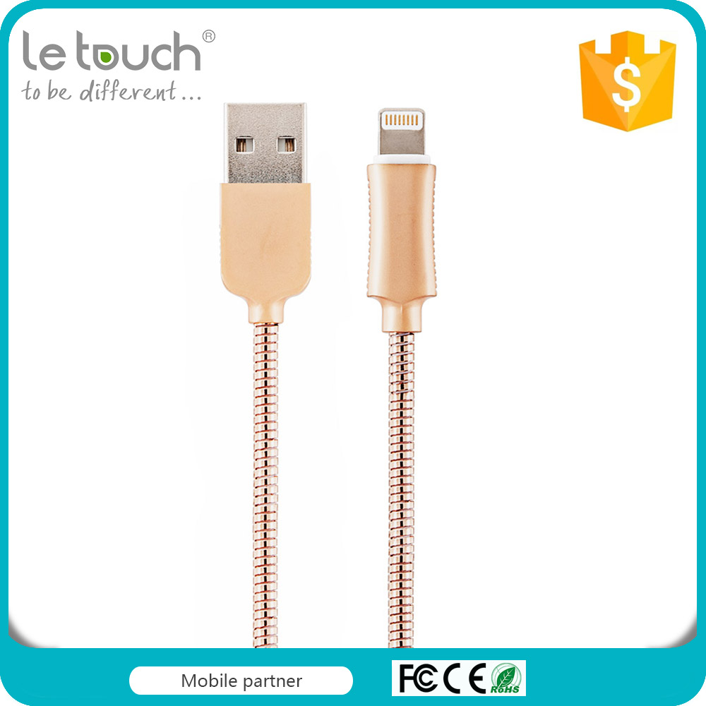 Factory manufacture mfi certificated usb data stainless steel cable for iPhone 6/6s/6 plus
