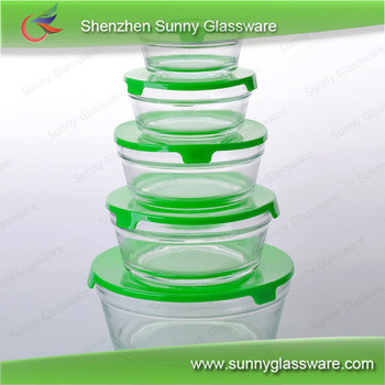 Food container 5pcs glass bowl sets with lid