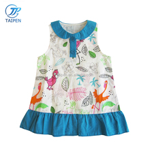 2017 Latest Childrens Boutique Dress Pleated Hem Baby Girls Sleeveless Frock Printed With Pattern