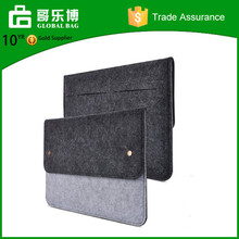 Dark Gray Felt & Leather Case Sleeve Pouch for Laptop
