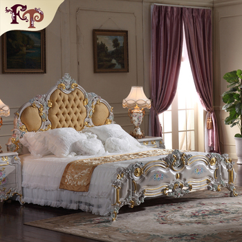 Bedroom Furniture Europe Design leather king size bed ,villa furniiture