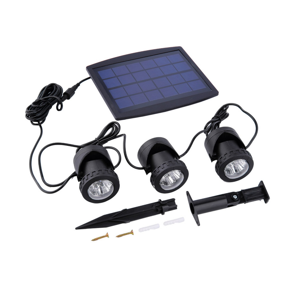 Solar Panel With Solar Powered 3 Bulbs Submarine Spotlight 18LEDS RGB/Cool White Garden Pool Pond Lamp Underwater Lights