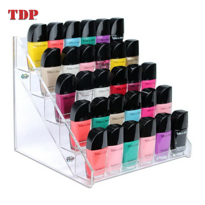 5 Shelves 30 Bottles Clear Organizer Rack Nail Polish Display <strong>Acrylic</strong>